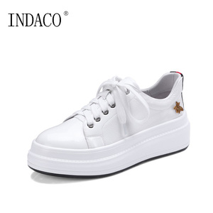 Image 2 - INDACO 2020 Women Sneakers Leather White Shoes Woman Shoes Fashions 34 40