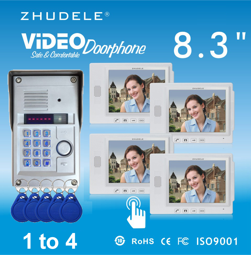 ZHUDELE Home Security Intercom System Kits 4X8.3Video Door Phone+1 CCD Camera,Waterproof Cover Password&Inductive Card Unlock