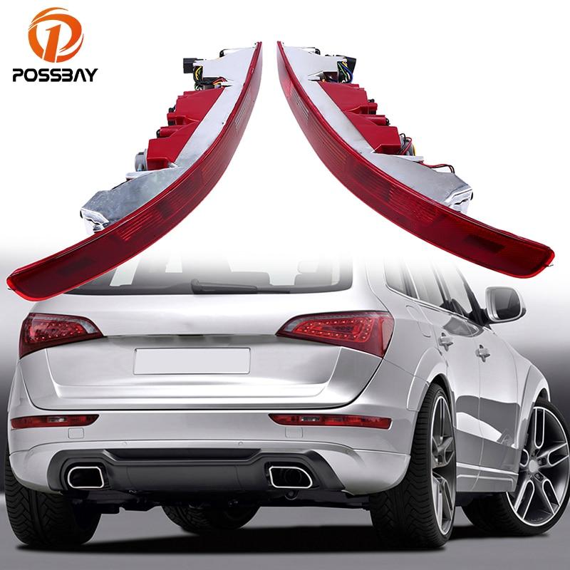 POSSBAY Red LED Light Rear Lower Bumper Tail Lights Reverse Stop Brake Parking Lamp for Audi Q5 2009-2016 Warning Lights