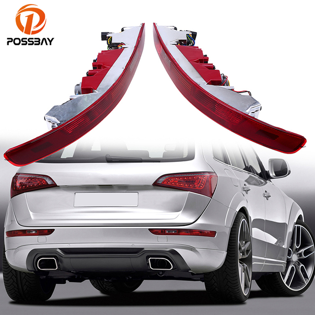 POSSBAY Red LED Light Rear Lower Bumper Tail Lights Reverse Stop Brake Parking Lamp for Audi Q5 2009/2010-2016 Warning Lights