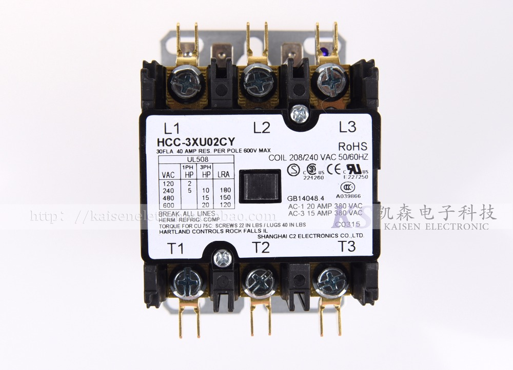 Free Shipping Supply 208V-240V 30A HCC-3XU02CY 50HZ/60HZ American three-phase AC contactorFree Shipping Supply 208V-240V 30A HCC-3XU02CY 50HZ/60HZ American three-phase AC contactor