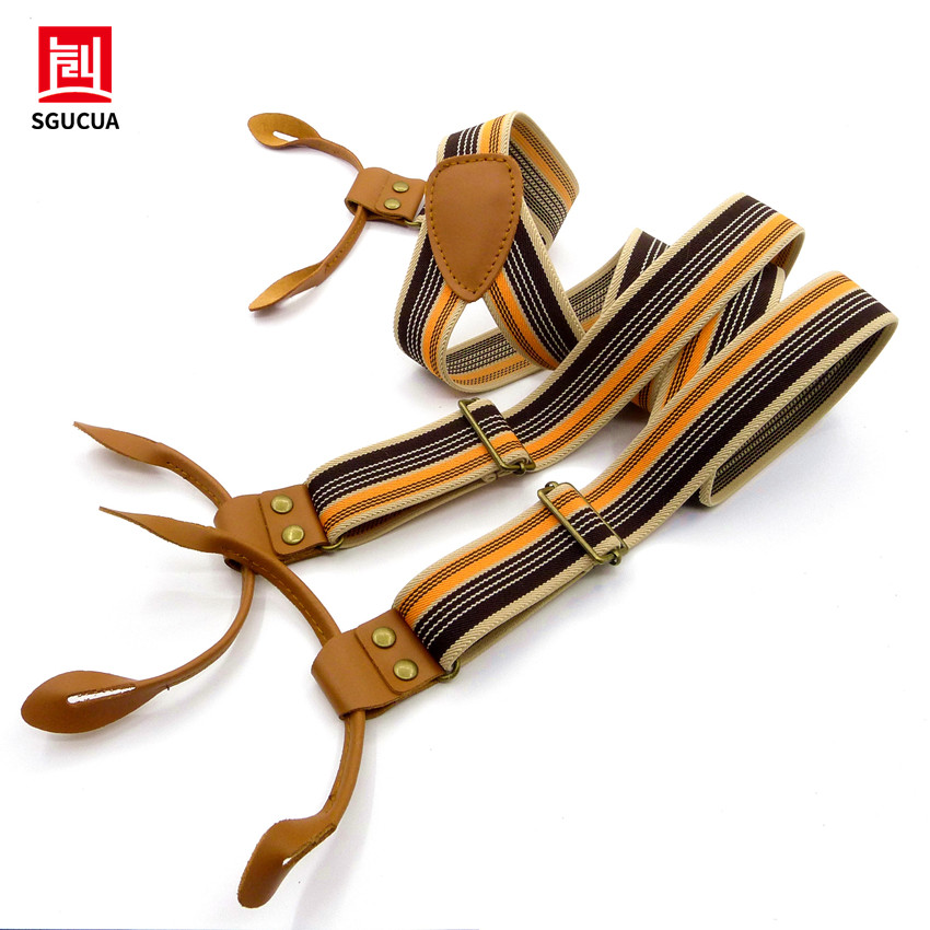 SGUCUA Vintage stripes Mens suspenders casual Fashion braces High quality leather suspenders Adjustable 6 buttons Belt Strap