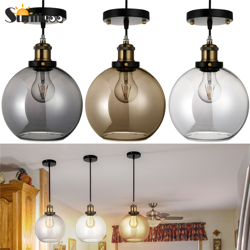 Sunligoo European Retro Kitchen Island Pendant Light,Vintage Industrial Smoke Gray Ball Glass Ceiling Light, Copper E27 Socket