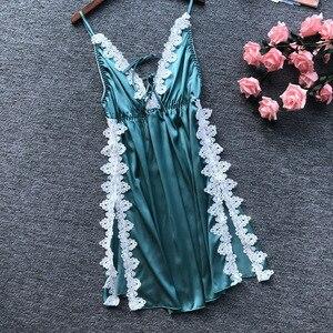 Image 3 - Daeyard Sexy soie Lingerie dentelle femmes vêtements de nuit élégant Appliques robe de nuit chemise de nuit Sexy haute vêtements de nuit avec fentes Slim Homewear