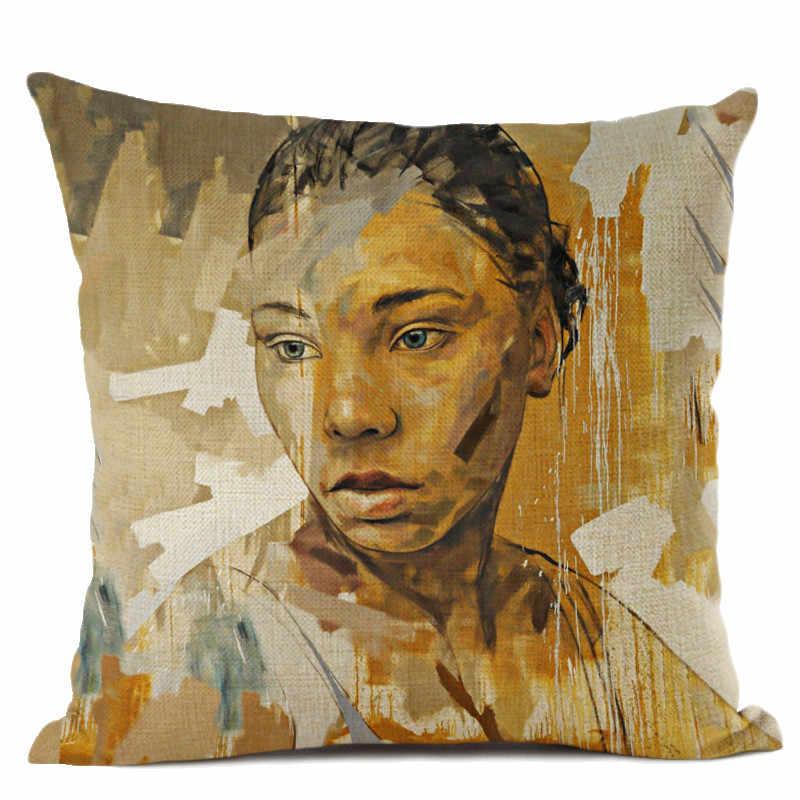 Украшение Искусство африканская картина маслом диван пледы наволочка Африка женщины Экспрессия хлопок лен наволочка для автомобильной подушки