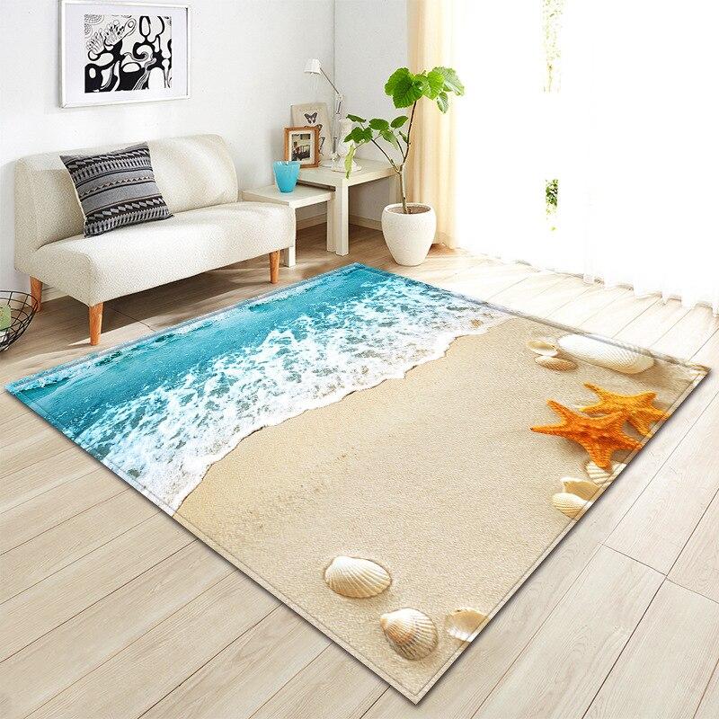 Plage 3D imprimer maison tapis pour salon chambre zone tapis bain cuisine antidérapant tapis paillasson style méditerranéen tapis personnalisé