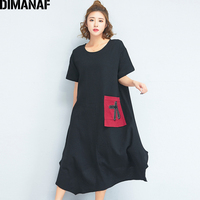 DIMANAF Women Dress Summer Plus Size 2018 Linen Vintage Female Large Clothing Loose Oversized Elegant Black