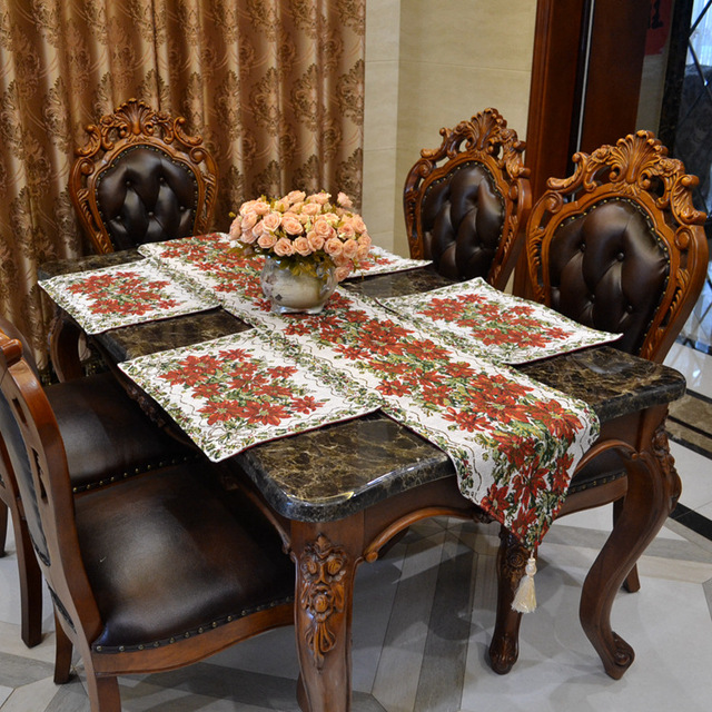 ZHH New Arrival Luxury Home Decoration Christmas Table Runner Red Flower Cloth Mat Coasters
