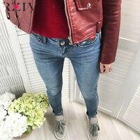 RZIV 2017 פרחי צבע טהור מזדמן ג 'ינס נשים רקום מכנסיים ג' ינס סקיני ג 'ינס דק