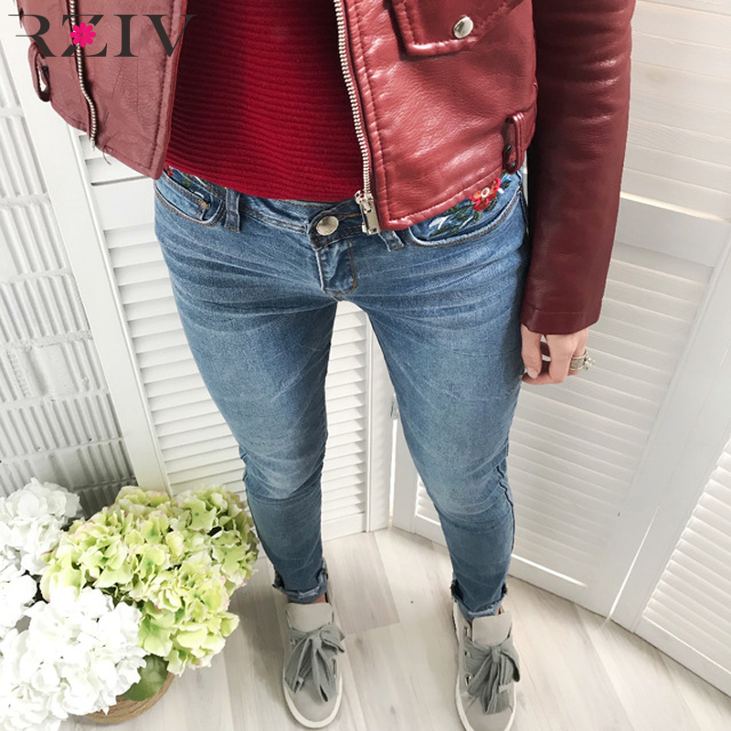 RZIV 2017 women jeans casual pure color flowers embroidered Slim skinny jeans denim pants