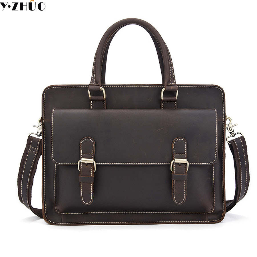 crazy horse leather handbags tote business genuine leather briefcase crossbody bags for men 14inch shoulder crossbody bag brown retro crazy horse cow genuine leather bags 16 inch men s shoulder bag for men briefcase real leather handbags laptop bags