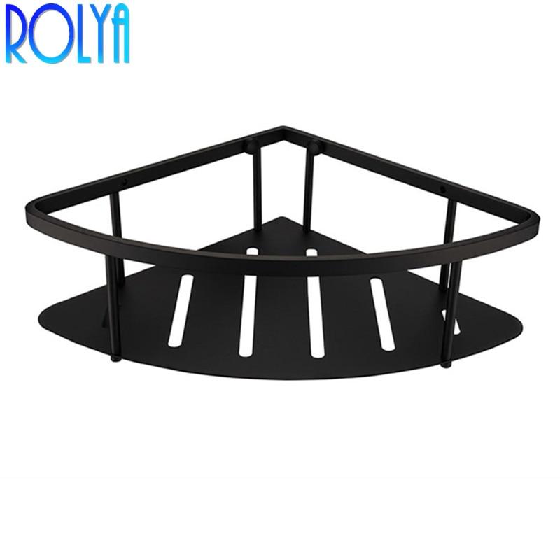 ROLYA Polished Chrome Black Solid Metal Single Bathroom Corner Baskets Triangular Tub and Shower Caddy Basket