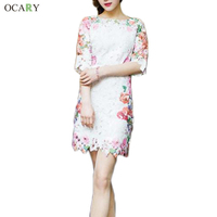 Women Brand Lace Embroidery Dress Floral Print Party Dresses High Quality Casual Plus Size Clothing 596