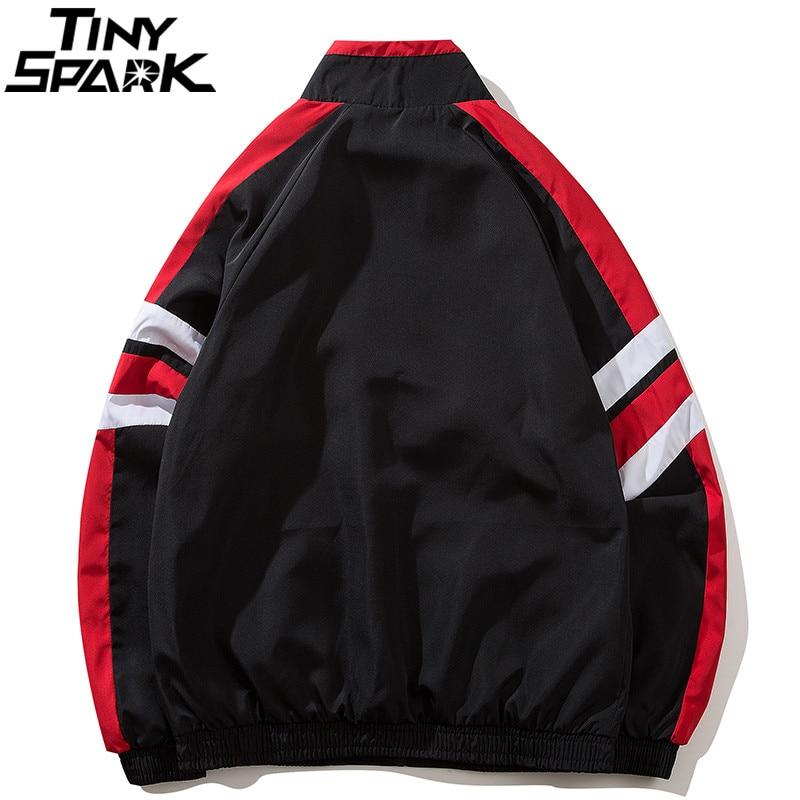 Chaqueta rompevientos de bloque de Color Hip Hop para hombre 2018 otoño  Vintage Patchwork chaquetas abrigos negro Casual Zip Up Track chaquetas  HipHop en ... 84cc12027d3