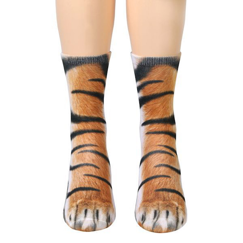 1 Pair 3D Adult Animal Paw Crew Socks Women Men Unisex Funny Printed Socks TS95