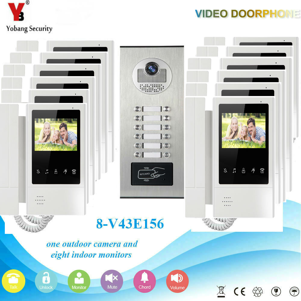 YobangSecurity Video Intercom 4.3 Inch Video Door Phone Doorbell Camera Monitor System RFID Access Control For 12 Unit Apartment yobangsecurity villa apartment eye door bell 7tft lcd color video door phone doorbell intercom system 1 camera 6 monitor