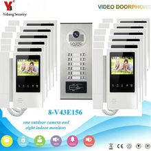 YobangSecurity Video Intercom 4.3 Inch Video Door Phone Doorbell Camera Monitor System RFID Access Control For 12 Unit Apartment