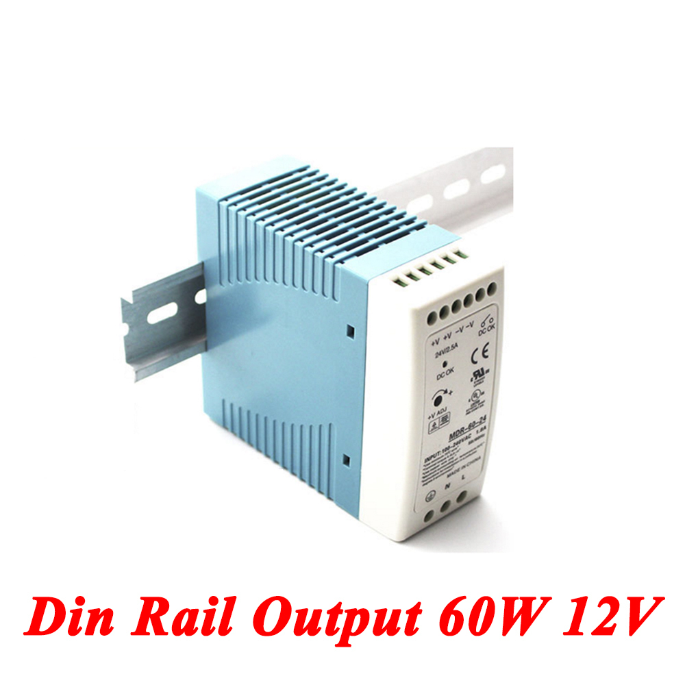 MDR-60 Din Rail Power Supply 60W 12V 5A,Switching Power Supply AC 110v/220v Transformer To DC 12v,ac dc converter 5 pcs lot dc 12v adapter driver module ac 90v 240 110v 220v to dc 12v 3 5a switching power supply 36w ac to dc power converter