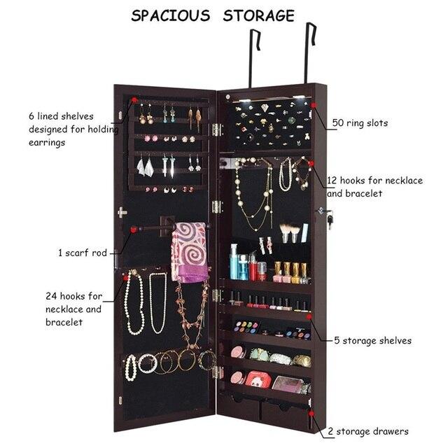 Lockable Wall Mount Mirrored Jewelry Cabinet LED Lights Elegant Jewelry Box High Quality Dressing Mirror Storage Box HW54403