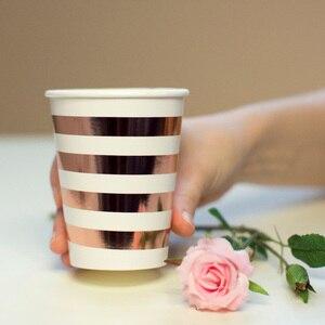Image 3 - Różowe złote imprezowe jednorazowe zastawy stołowe różany złoty puchar talerze słomki dla dorosłych dekoracje na przyjęcie urodzinowe Baby Shower dla nowożeńców zaopatrzenie firm