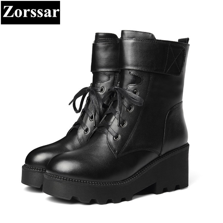 {Zorssar} 2018 NEW winter warm woman shoes fashion buckle Genuine Leather Casual lace-up thick heels ankle Motorcycle boots skullies beanies the new russian leather thick warm casual fashion female grass hat 93022