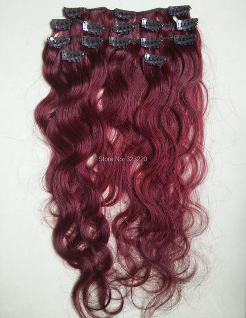 """22 """" de Remy grampos de cabelo em extensões ondulado corpo 75 g # Fantasy Red"""