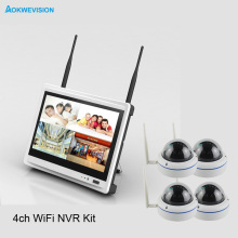 New arrival 4ch dome Day night security camera system 1080 Real wireless wifi system NVR kit with 12.5 inch LCD Screen