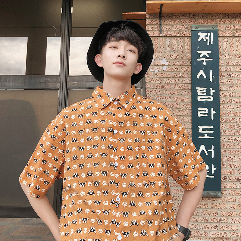 Port Amorous Feelings Companion Short Sleeve Shirt Summer New Pattern Trend Leisure Time Student Easy Clothes Male Favourite