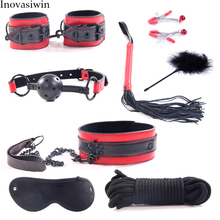 Adult Sex Toys Handcuffs Eye Mask Feather Set Black Stud Leather 8 Piece Games for Couple Bondage Woman