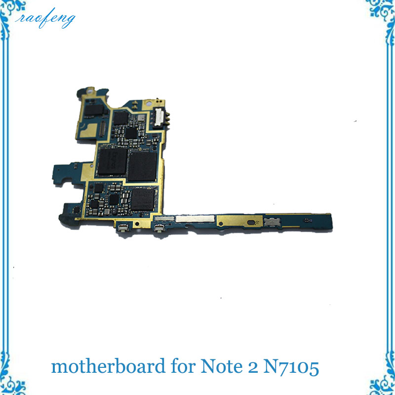 High quality Motherboard For Samsung Galaxy Note 2 N7105 mainboard original Unlocked with chips logic board(China)