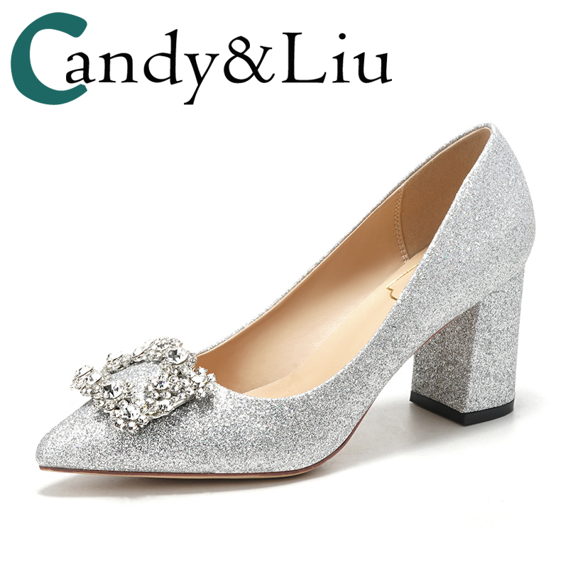 Bright Party Pumps Lady Lower Heel Thick heels sequins crystal diamond crystal silver high heels pregnant