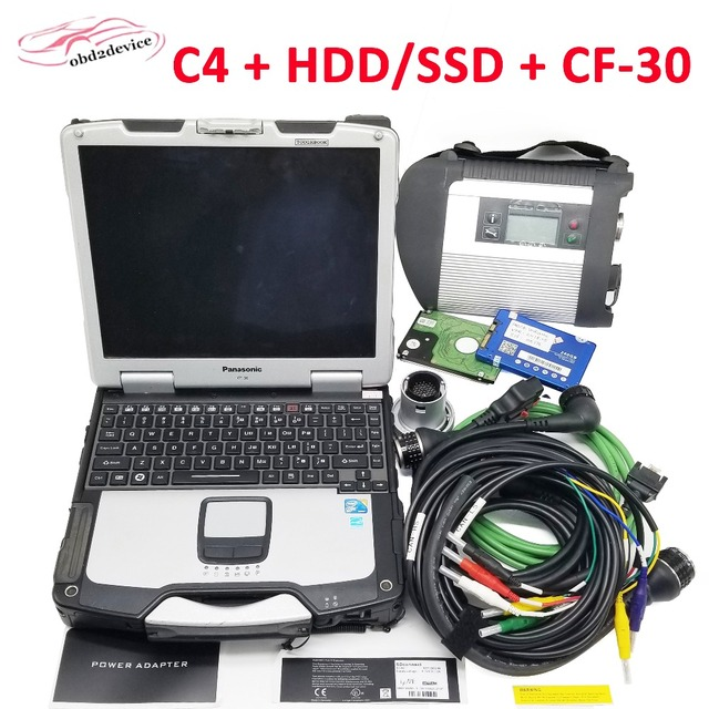 Cheap Best MB STAR C4 Professional Diagnostic Tool with Software HDD/SSD with Laptop CF30 Wifi Scanner for MB Vehicle