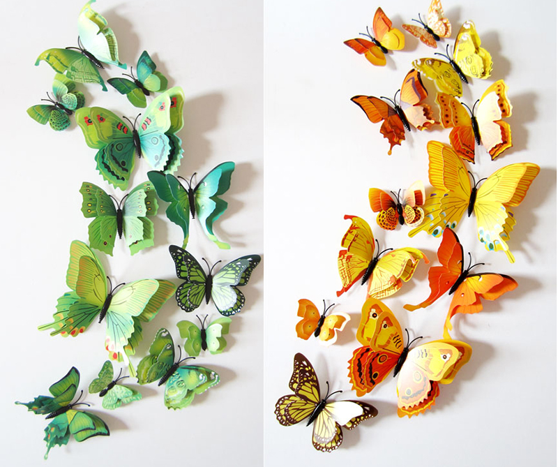 12 Pcs Set Diy 3d Butterfly Wall Stickers Home Decor For Living Room Bedroom Kitchen Toilet And Festive Wedding Decoration