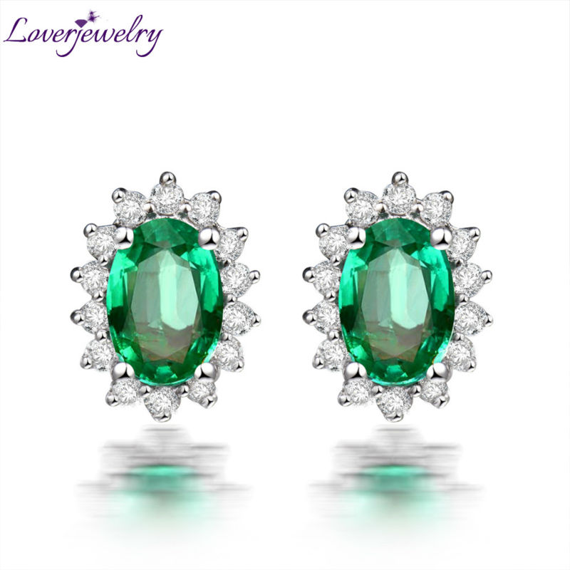 Oval 4x6mm Emerald Studs Earrings Solid 18kt White Gold Diamond For Women We042