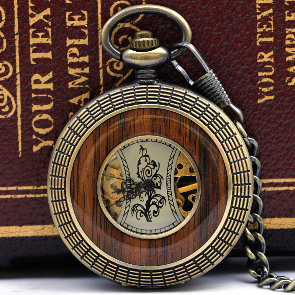 Best Bronze Wooden Skeleton Roman Number Dial Mechanical Pocket Watch With Fob Chain For Men Women PJX051