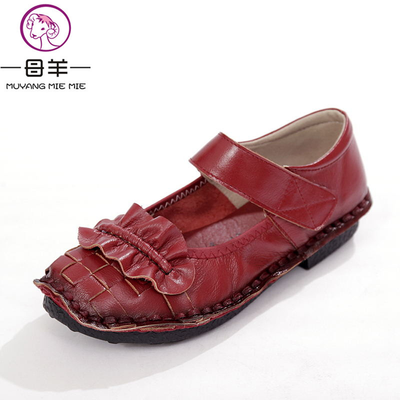 MUYANG MIE MIE Women Flats 2018 Fashion Genuine Leather Spring Flat Shoes Woman Casual Mary Janes Shoes Comfortable Women Shoes цены онлайн