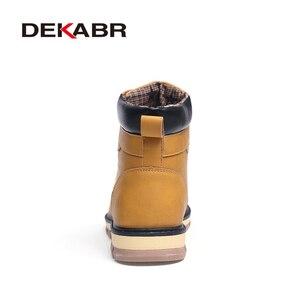 Image 3 - DEKABR 2020 أحدث الخريف الشتاء الكاحل الأحذية الدافئة جودة بولي PU جلد الرجال أحذية العمل غير رسمية خمر نمط الدانتيل يصل الرجال الأحذية
