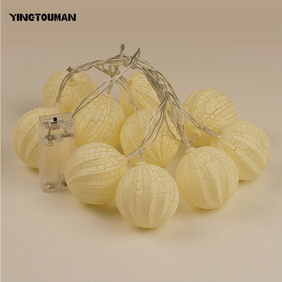 YINGTOUMAN Battery Powered Yellow Crack Ball Fairy String Lamp Outdoor Christmas Day Garden Party Decoration Light 1m 10led
