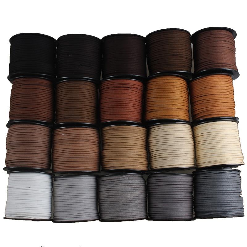 Negro Blanco marrón 100 metros 3mm plano imitación de terciopelo coreano cuero cuerda Cadena de joyería encontrar para DIY Chok