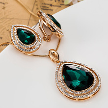 Boutique Peach Rhinestone Pendant Earring Jewelry sets Fine Costume Jewelry Fashion Perfect Wedding Jewellery sets Dubai Neclace