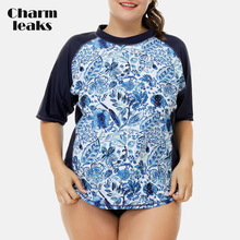 Charmleaks Women Short Sleeve Rashguard Retro Floral Print Swimsuit Shirt Womens Plus Size Swimwear UPF50+ Rash Guard Beach Wear