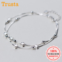 Trusta 100% 925 Solid Real Sterling Silver Fashion Double Layer Star Beads Bracelet 17cm For Women Girl Silver Jewelry DS1211