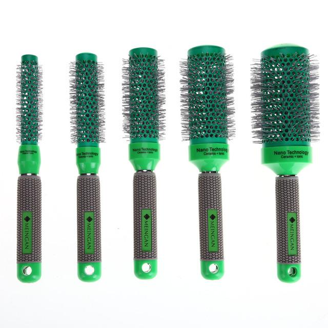 Round Green Ceramic Hair Brush
