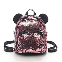PU Sequins Women Backpacks School Bags For Girls Princess Bling Small Backpacks New Mini Backpack Mickey