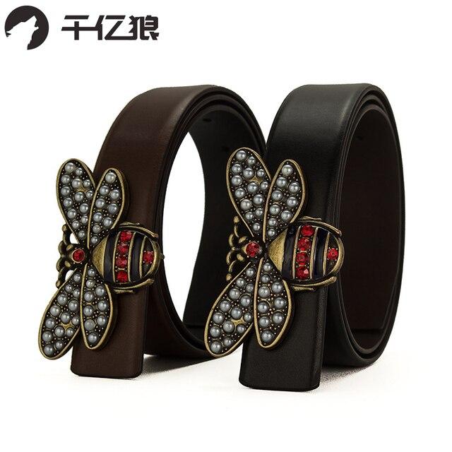 dd219ea4a6514 Haute qualité nouvelles femmes ceintures en cuir de luxe petite abeille  lisse boucle ceinture pour fille