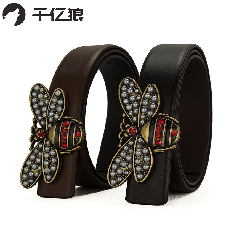 High Quality New Womens Leather Belts Luxury Little Bee Smooth Buckle Belt For Girl Fashion Diamond Real Leather Brand Waistband Wide Varieties