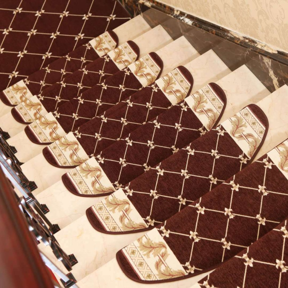 24X75CM European Jacquard Stairs Carpet Mat Anti-Slip Bathroom Carpet Hotel Stair Rug Home Entrance/Hallway Doormat Floor Rug