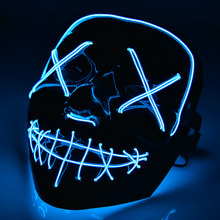 Led Mask Glowing Halloween Mask Neon Skull Scary Mask Party Festival Brithday New Year Gift Mascara Light Up Cosplay Costume(China)