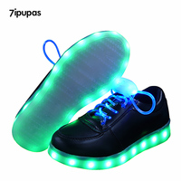 7 ipupas crianças Brilhantes tênis sapato Preto, Azul Led Cadarço Cadarço Luminoso de Bateria como presente, As Crianças levaram sapato menino meninas tênis iluminadas