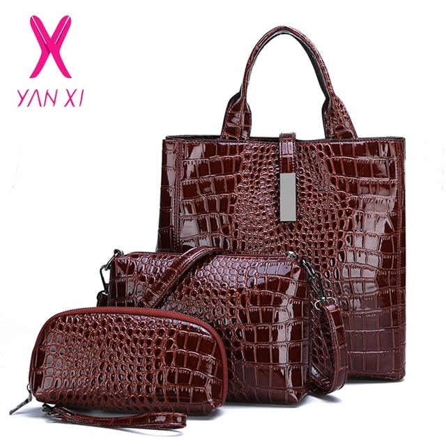 b49ad84e06 3Pcs Luxury Alligator Crocodile Women Leather Handbag Set Famous Brand Women  Shoulder Bags Ladies Handbags Purse